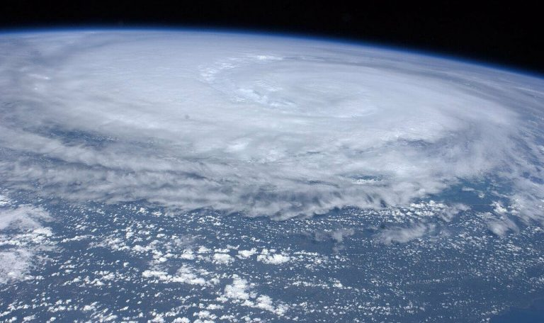 The eye of a hurricane from space