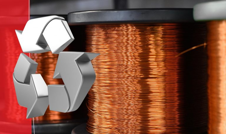 spool of copper that was created from recycled copper