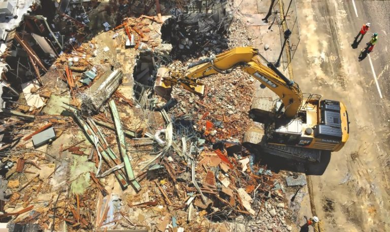 a demolition site with a large amount of scrappable materials